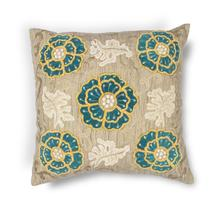 "L211 Taupe-teal Blooms Pillow 20"" X 20"""