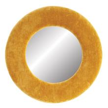 """Product Image - 16"""" Round Cotton Velvet Framed Wall Mirror, Mustard Color"""
