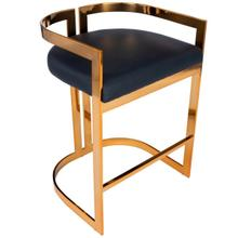 Furnish your kitchen or bar area in contemporary style with this soft curve lumbar frame counter stool. The high polish solid iron frame provides a sturdy base, while the plush faux leather seat ensures maximum comfort. The combination of angles and gentl