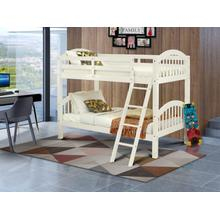 Twin Bunk Bed in White Finish