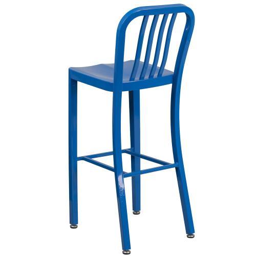 30'' High Blue Metal Indoor-Outdoor Barstool with Vertical Slat Back