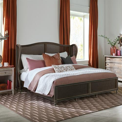 Hillsdale Furniture - Sausalito Wood and Cane King Bed, Oiled Bronze