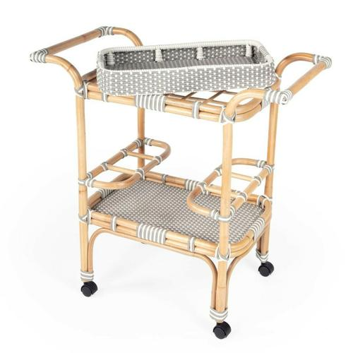 Function, form and fun all come together on this beautiful PU Rattan weave serving cart. The simplistic design of this servig cart is enhanced by a 'POP of contemporary design. The functional design with its intricate patterned weave and patterned removable tray offer all attentions to function and details. Reminiscent of the outdoor cafes on the streets of Paris, while sipping an aperitif and served with style. The fresh new look of this serving cart will bring new life to your entertaining style.