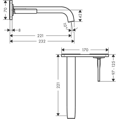 Brushed Brass Single lever basin mixer for concealed installation wall-mounted with pin handle, spout 221 mm and plate