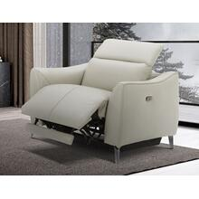 See Details - Divani Casa Prairie Light Grey Leather Electric Recliner with Electric Headrest
