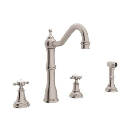Edwardian 4-Hole Kitchen Faucet with Sidespray - Satin Nickel with Cross Handle
