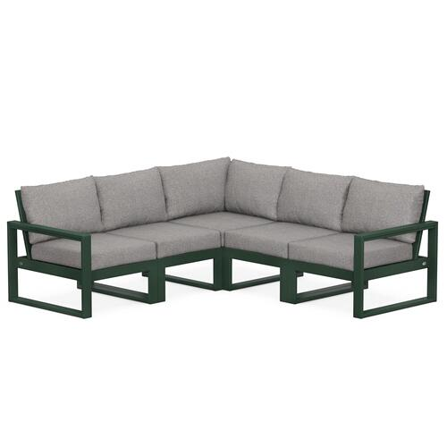 Polywood Furnishings - EDGE 5-Piece Modular Deep Seating Set in Green / Grey Mist