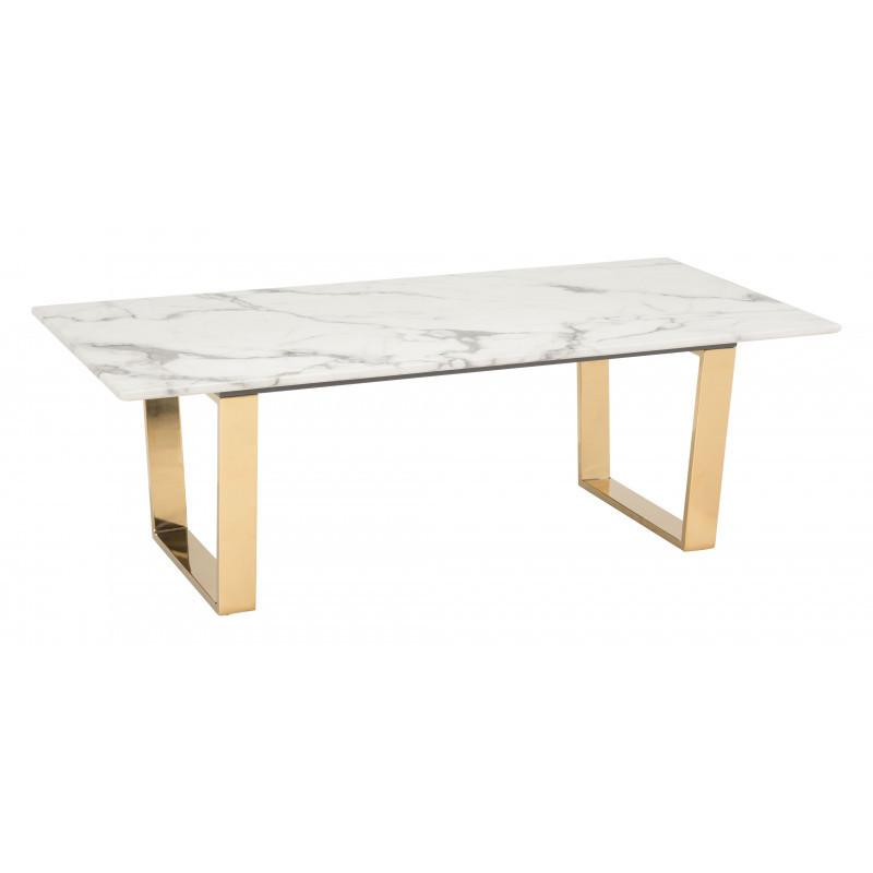 Atlas Coffee Table White & Gold