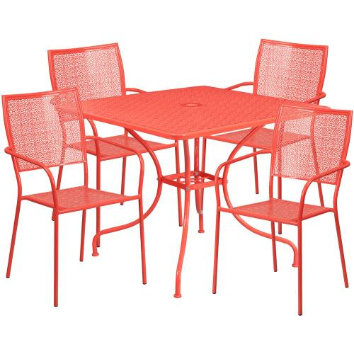 35.5'' Square Coral Indoor-Outdoor Steel Patio Table Set with 4 Square Back Chairs