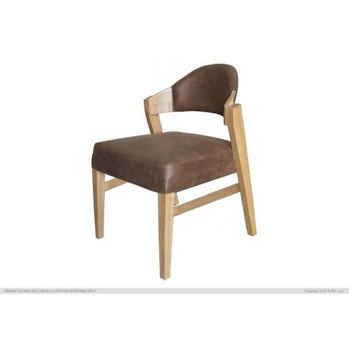 Gallery - Chair w/ Solid wood, faux leather back & seat comala finish