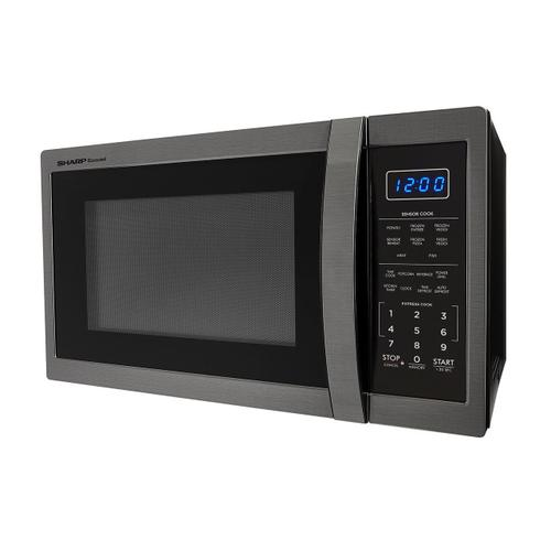 1.4 cu. ft. 1100W Sharp Black Stainless Steel Countertop Microwave Oven