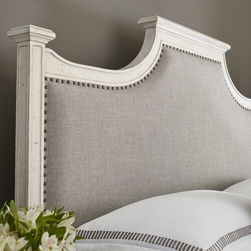 Cal King/Aged Whitestone Bella Upholstered Panel Bed