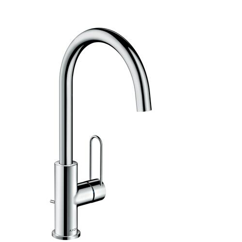 Stainless Steel Optic Single lever basin mixer 240 with loop handle and pop-up waste set