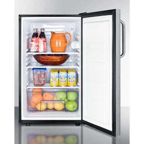 """Commercially Listed ADA Compliant 20"""" Wide Counter Height All-refrigerator, Auto Defrost With A Lock, Stainless Steel Door, Towel Bar Handle, and Black Cabinet"""