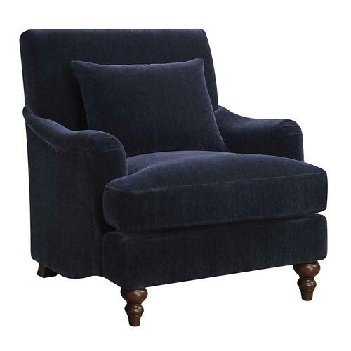 Traditional Midnight Blue Accent Chair