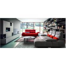 View Product - David Ferrari Baloon - Modern Grey + Red Fabric Sectional Sofa Set