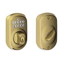 Plymouth Trim Keypad Deadbolt - Antique Brass
