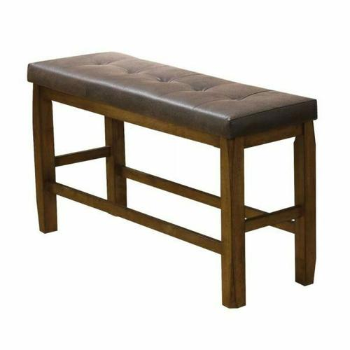 ACME Morrison Counter Height Bench w/Storage - 00847 - Brown PU & Oak