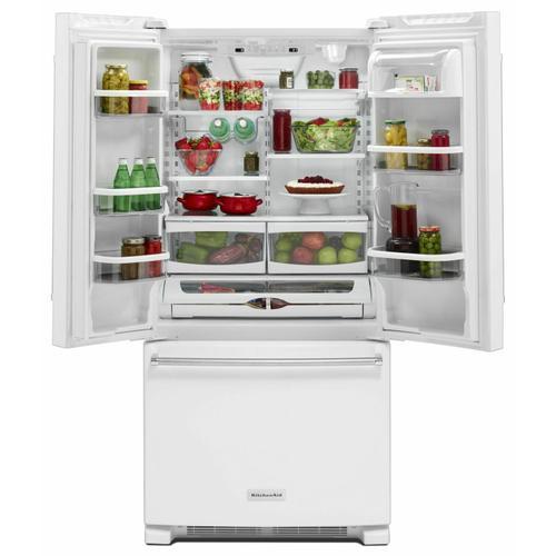 KitchenAid - 22 Cu. Ft. 33-Inch Width Standard Depth French Door Refrigerator with Interior Dispenser - White