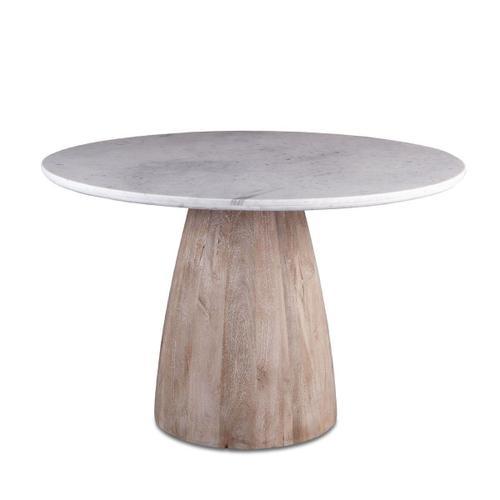 "Palm Springs 48"" Round Dining Table White Marble, Mango Wood Base"