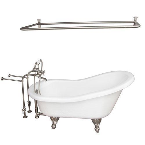 "Imogene 67"" Acrylic Slipper Tub Kit in White - Brushed Nickel Accessories"