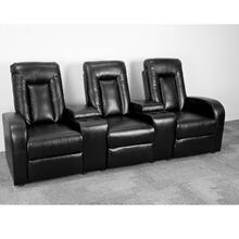3-Seat Push Button Motorized Reclining Black Leather Theater Seating Unit with Cup Holders