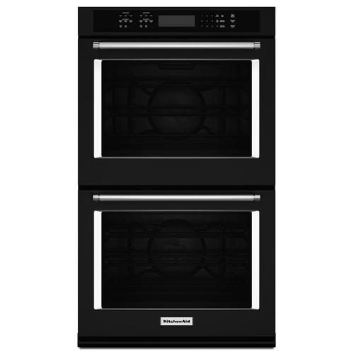 """KitchenAid - 30"""" Double Wall Oven with Even-Heat™ True Convection Black"""