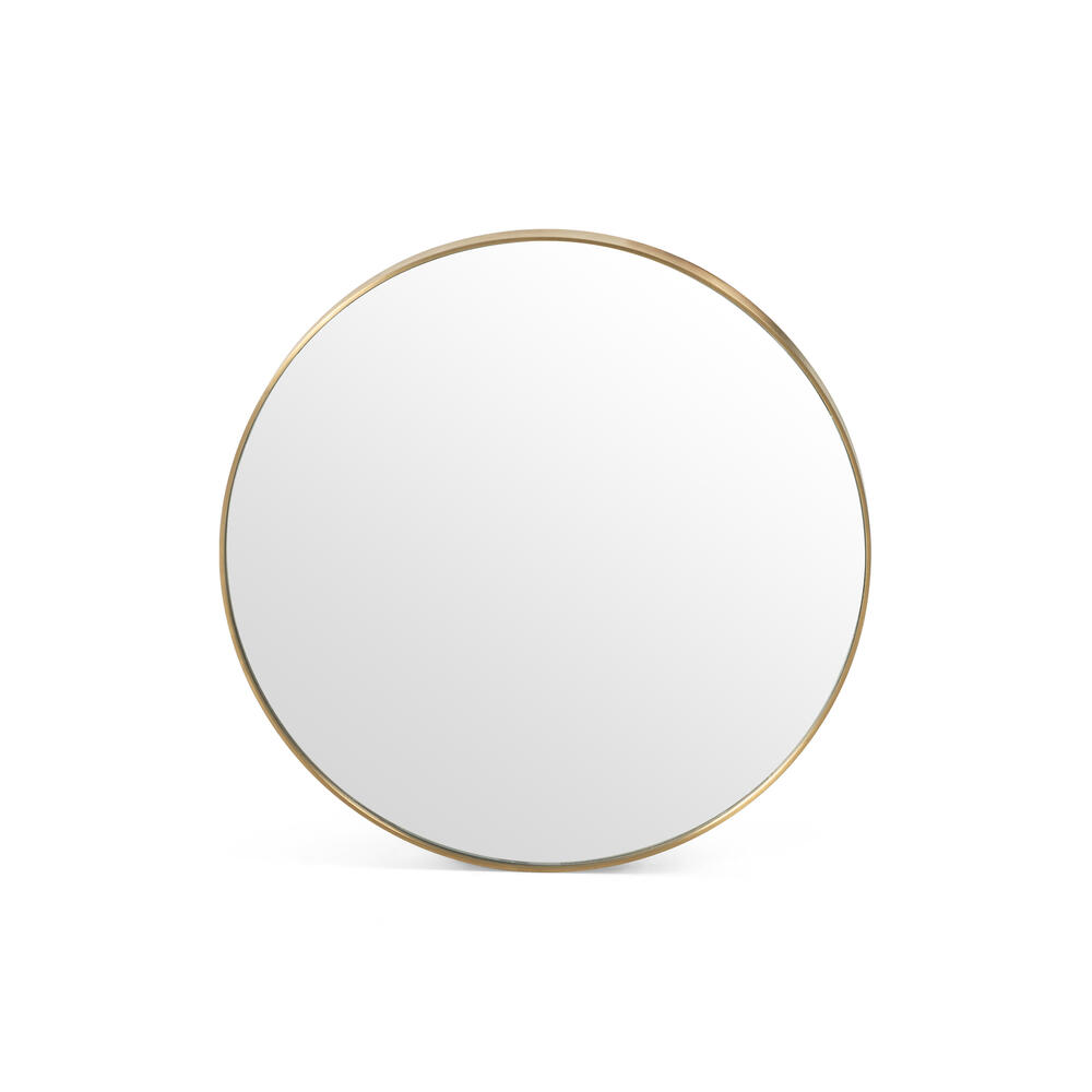 Small Size Polished Brass Finish Bellvue Round Mirror