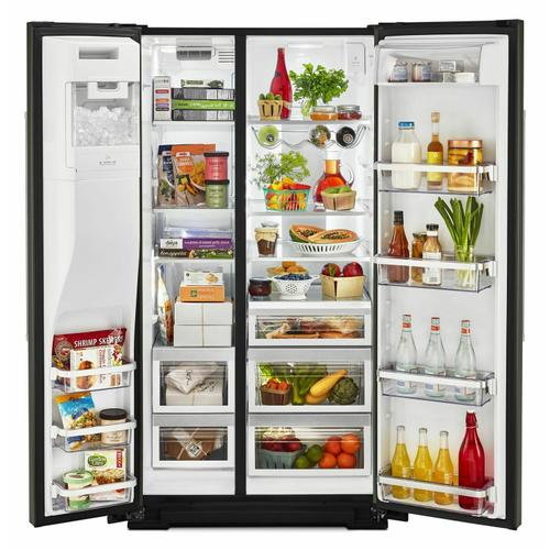 KitchenAid - 24.8 cu ft. Side-by-Side Refrigerator with Exterior Ice and Water and PrintShield™ finish - Black Stainless Steel with PrintShield™ Finish