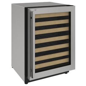 """24"""" Wine Refrigerator With Stainless Frame Finish and Right-hand Hinge Door Swing (115 V/60 Hz Volts /60 Hz Hz)"""