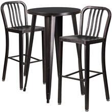 24'' Round Black-Antique Gold Metal Indoor-Outdoor Bar Table Set with 2 Vertical Slat Back Stools