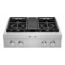 See Details - KitchenAid® 30'' 4-Burner Commercial-Style Gas Rangetop - Stainless Steel