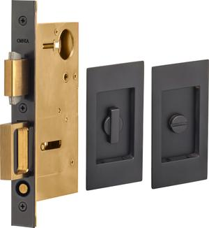 Pocket Door Lock with Modern Rectangular Trim featuring Turnpiece and Emergency Release in (US10B Black, Oil-Rubbed, Lacquered) Product Image