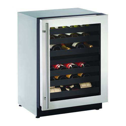 """U-Line - 2224zwc 24"""" Dual-zone Wine Refrigerator With Stainless Frame Finish and Field Reversible Door Swing (115 V/60 Hz Volts /60 Hz Hz)"""