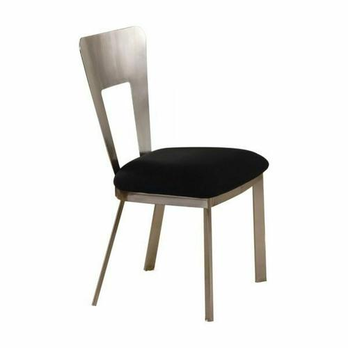 ACME Camille Side Chair (Set-2) - 10093 - Black Microfiber