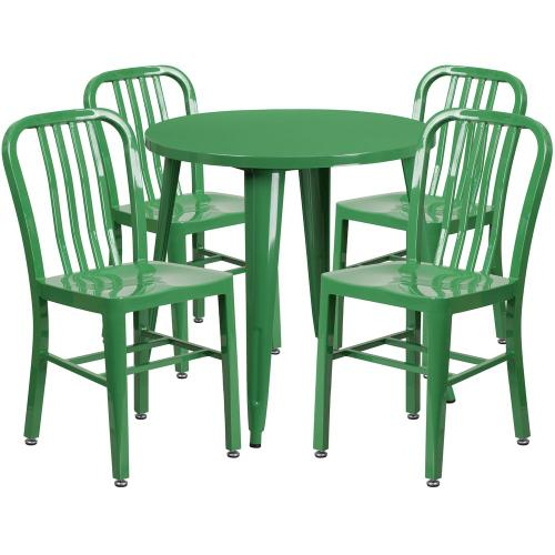 30'' Round Green Metal Indoor-Outdoor Table Set with 4 Vertical Slat Back Chairs