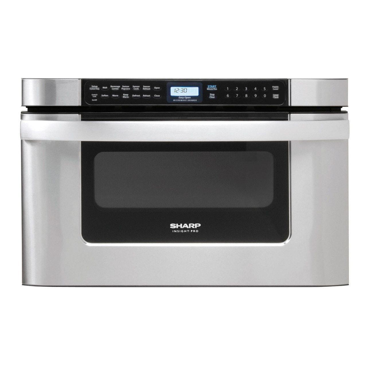 24 in. 1.2 cu. ft. 950W Sharp Easy Open Stainless Steel Microwave Drawer