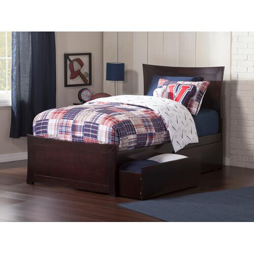 Metro Twin Bed with Matching Foot Board with 2 Urban Bed Drawers in Espresso
