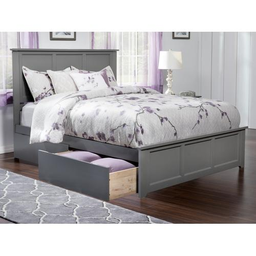 Atlantic Furniture - Madison Queen Bed with Matching Foot Board with 2 Urban Bed Drawers in Atlantic Grey