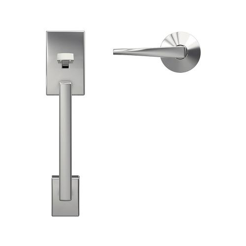 Custom Century Front Entry Handle and Eller Lever with Kinsler Trim - Bright Chrome