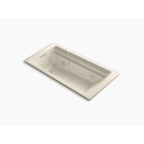 "Almond 72"" X 36"" Drop-in Whirlpool + Heated Bubblemassage Air Bath"