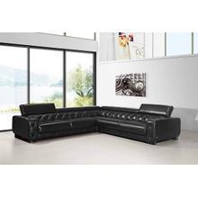 Product Image - Divani Casa Lyon Modern Black Italian Leather Sectional Sofa