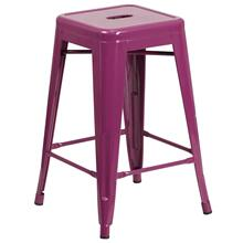 24'' High Backless Purple Indoor-Outdoor Counter Height Stool
