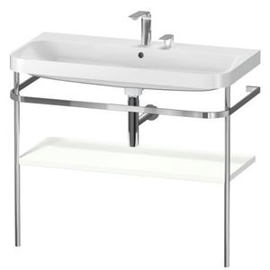 Furniture Washbasin C-shaped With Metal Console Floorstanding, White Satin Matte (lacquer)