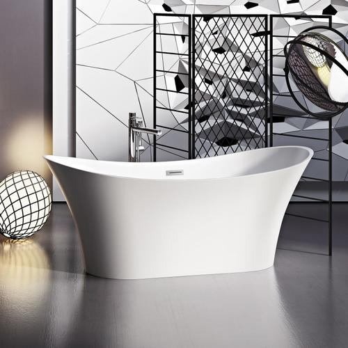 """Noreen 69"""" Acrylic Double Slipper Tub with Integrated Drain and Overflow - Polished Brass Drain and Overflow"""