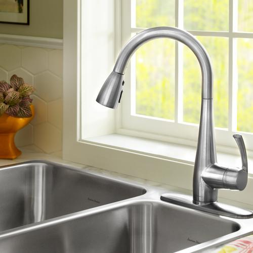 American Standard - Quince 1-Handle Pull Down High-Arc Kitchen Faucet  American Standard - Stainless Steel