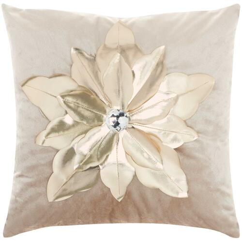 "Holiday Pillows L9966 Beige/gold 16"" X 16"" Throw Pillow"