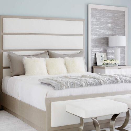 Bernhardt - King-Sized Axiom Upholstered Panel Bed in Linear Gray (381)