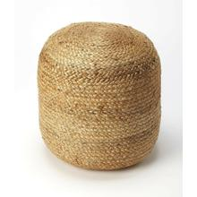 See Details - Put your feet up and relax. This round beige natural fiber pouf has an interesting braided Jute appearence . This woven beanbag blends its complementary shades to form a masterful medley of color and consistency. Set a rustic wooden tray on top of this pouf to set out hors-d'oeuvres at your next summer soiree. An excellent seating alternative for young children, try setting one in front of an easel in the play room and let your little artist paint.
