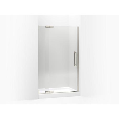 """Crystal Clear Glass With Brushed Nickel Frame Pivot Shower Door, 72-1/4"""" H X 45-1/4 - 47-3/4"""" W, With 1/2"""" Thick Crystal Clear Glass"""